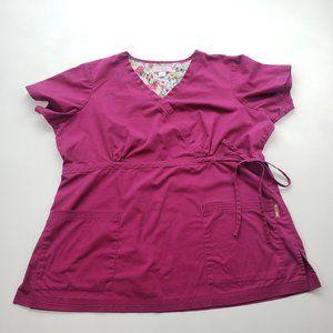 🩺 Koi by Kathy Peterson Dark Fuschia Pink Scrub Top Size 2X